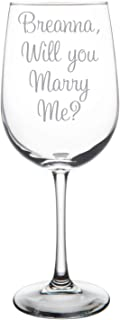 Will You Marry Me? Wine Glass, etched with name and font of your choice