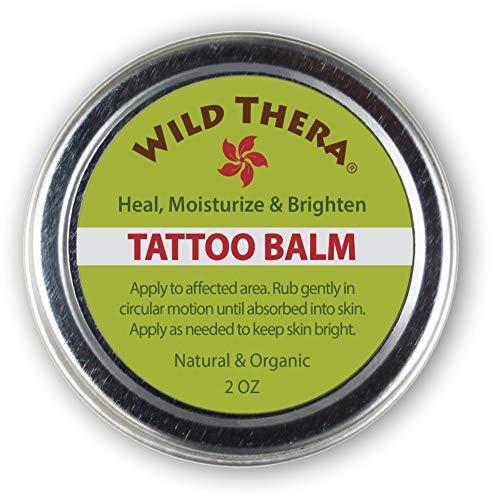 Wild Thera Tattoo Balm. Organic & Natural Tattoo Treatment Aftercare. Herbal skin salve. Aloe Shea, Hemp and Vitamin E nourish, soothe & heal tattooed skin. Essential Oils restore glow and shine.
