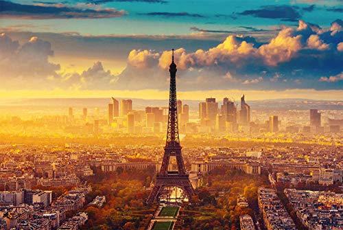 France Landscape Wood Puzzle 1000 Piezas, Rompecabezas para Adultos, Divertido Juego de Alivio del estrés, Juguete Educativo para niños, Regalo, Eiffel Love Witness, 75x50cm