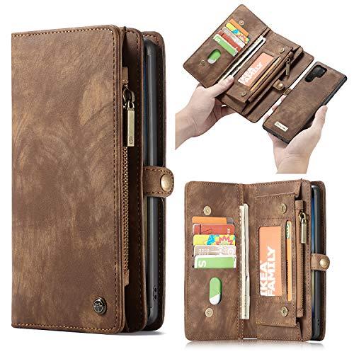 HülleMe Leder Galaxy Note 10 Pro hülle, magnetisch Flip Folio Lederhülle Wallet Handyhülle für Samsung Galaxy Note 10 Plus Ständer Cover, 13 x Kreditkarte Slots, 2 in 1 zurück hülle (Note 10+, braun)