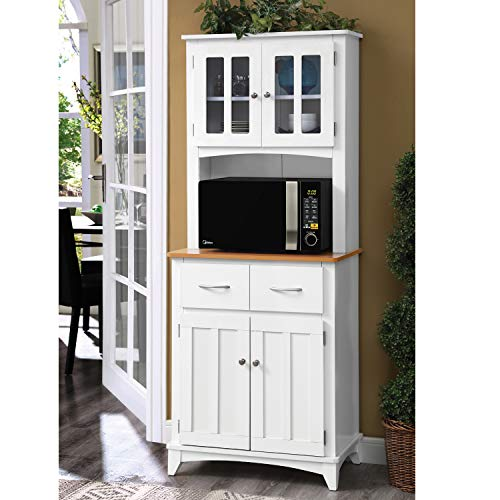 Home Source Industries Brook Tall Microwave Cabinet with 2-Drawer and an Upper and Lower Cabinet,...