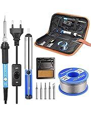 SREMTCH Soldeerbout Set, 60W 220V Soldeerbout Set met Instelbare Temperatuur, 5 Stuks Verschillende Tips, Houder, Soldeerdraad Voor Verschillend Gerepareerd Gebruik