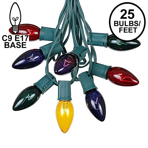 C9 Multi Christmas String Light Set - Outdoor Christmas Light String - Christmas Tree Lights - Hanging Christmas Lights - Roofline Light String - Outdoor Patio String Lights - Green Wire - 25 Foot