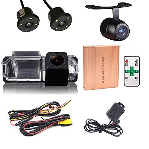 Caméra de recul panoramique à 360 degrés avec système de vision d'oiseaux DVR 3D avant HD pour VW New Beetle Phaeton Scirocco Golf/Variant/4Motion Seat Leon/Leon4 Skoda Superb EOS Passat CC Jetta