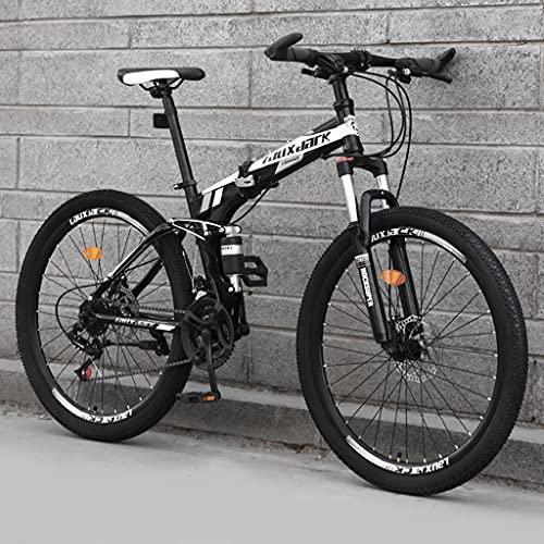 LHQ-HQ - Mountain bike pieghevole da 26 pollici, per adulti, 24 velocità, con doppia sospensione, telaio in acciaio al carbonio, doppio freno a disco, F