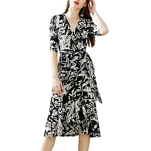 LZJDS Mujer Vestido Midi Cruzado de Flores Manga Corta Cuello En V Vestido Acampanado con Gran Oscilación,Negro,M