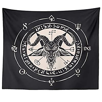 "Occult Tapestry Goat Head Pentagram Gothic Devil Baphomet Wall Hanging (Goat Head, 59"" x 79"")"