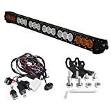 Angel ma 32 Inch 180W Super Bright Driving/Combo Beam Amber/White CREE 10w LEDs Off-Road Single Row LED Light Bar for Driving in Fog Rain Snow & Dust with Remote Wiring Kits