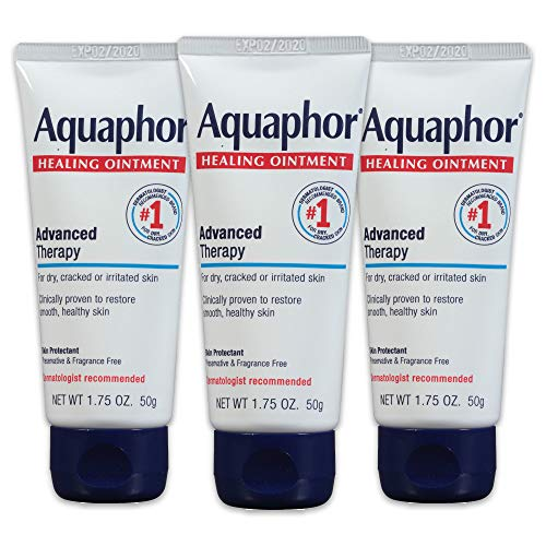 Aquaphor Healing Ointment  Pack of 3 Travel Size Protectant for Cracked Skin  Dry Hands Heels Elbows Lips  175 oz
