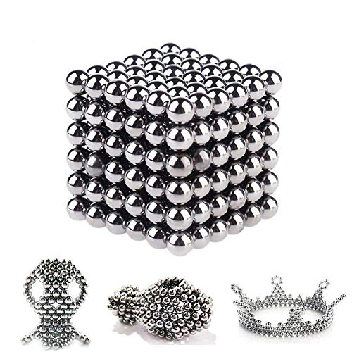 Techamazon Magic Building Ball Intelligence Development and Stress Relief Educational Stacking 3D Puzzle Toys (Silver, 5 mm) - Pack of 216 Pieces Construction Set Educational Stacking Toys