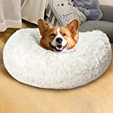 Homore Fluffy Dog Bed, Furry Round Pet Beds for Small Medium Large Dogs, Ultra Soft Donut Cuddle Bed Claming Puppy Cat Bed Plush Cushion Washable, 23'' / 30''