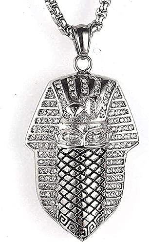 ZGYFJCH Co.,ltd Collar Collar de Acero Inoxidable Joyas para Hombre Collar de Hip Hop Colgante de Acero de Titanio Collar de pirámide de Cleopatra Regalo Blanco-Blanco Regalos