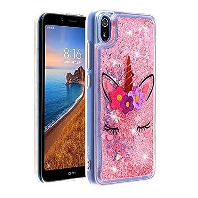 ChoosEU Compatible con Funda Xiaomi Redmi 7A Silicona Transparente Dibujos Glitter Brillante Bonita Carcasas Liquido Purpurina Case Antigolpes Bumper Cover Protección Caso - Unicornio