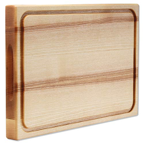 Extra Large Wood Cutting Board Large Wooden Cutting Boards for Kitchen 18x12x1.5 Butcher Block Countertop Wood Chopping Board Smak Ash Wood Bread Meat Cheese Cutting Board Serving Charcuterie Board