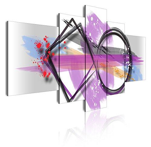 DekoArte 299 - Quadri Moderni Stampa di Immagini Artistica Digitalizzata | Tela Decorativa per Soggiorno o Stanza da Letto | Stile Astrazioni Moderno Colori Argento Bianco Viola | 5 Pezzi 180x85cmXXL