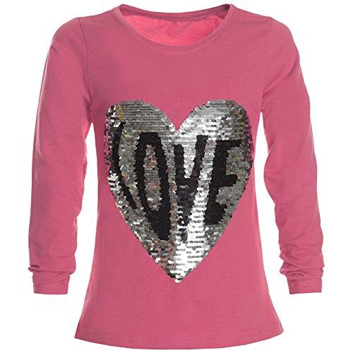 Mädchen Langarm Wende-Pailletten T-Shirt Bluse Long Shirt 21358 Rosa Größe 152