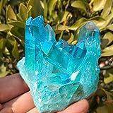 LSB Piedra Colorida, 1pc 190-200g Raras Hermoso Cielo Azul de la Llama del Anillo de Cristal de Cuarzo Cluster Espécimen Boda decoración del Acuario