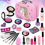Juego de maquillaje infantil de unicornio, 27 piezas, lavable, seguro, cosmético, no tóxico, juego de maquillaje con juguetes para niñas pequeñas, princesas, Navidad, cumpleaños, regalo de 4-8 años