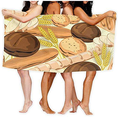 Yocmre 130 * 80cm (52x32 Inches) Bad Handdoek Brood Tekening Hoge Absorbency Bad Sheet voor Strand Thuis Badkamers Zwembad Gym
