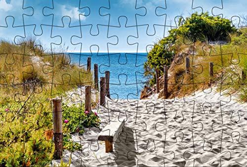 Puzzle-Postkarte Ostsee (Kultur erleben im GMEINER-Verlag): Motiv: Holzweg in Dünen mit Sicht aufs Meer