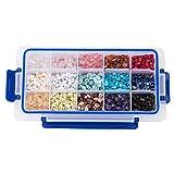 PandaHall 1 Scatola 15 Stile Assortiti Patatine di Pietra Perline di Cristallo Schiacciato Grosso 5-8mm Perline Sciolte con Confezione Regalo per Creazione di Gioielli