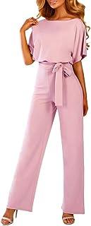 b384b1feb6af Cenglings Women O Neck Short Sleeve Playsuit Clubwear Straight Leg Jumpsuit  with Belt Office Work Romper
