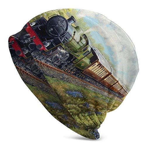 Tren de Vapor y ferrocarril Gorro Tejido para Hombre Gorro Beanie Gorro Beanie Informal Gorro de Calavera Sombreros Ligeros multifuncionales Otoño e Invierno al Aire Libre Cálido Suave