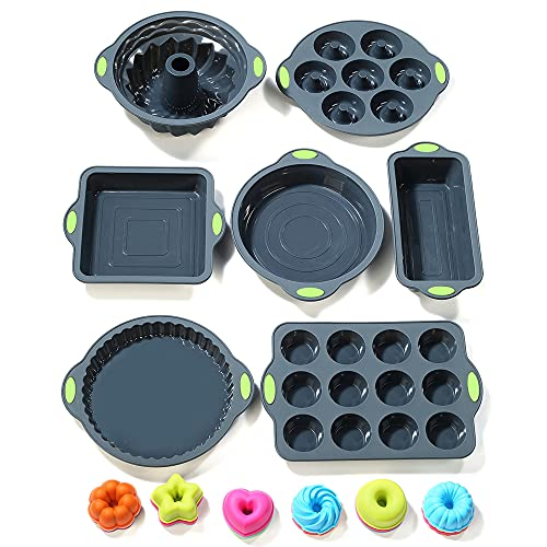 To encounter 31 Pieces Silicone Bakeware Set - 7 Silicone Baking Cake Pans - 24 Silicone Cake Molds Non Stick Muffin Cups Liners with Metal Reinforced Frame More Strength