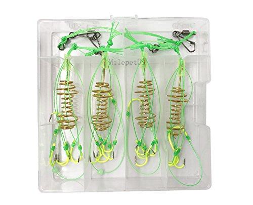Milepetus Carp Fishing Baits Hook Lure Trap Luminous Hooks with Drum Type Spring Feeder and Glow Fishing Beads Coarse Fishing Tackle (6#)