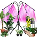 """80W LED Grow Light with 60"""" Stand for Indoor Plant Adjustable 4 Head Floor Plant Lights 3 Colors Full Spectrum 80LED 3Modes 10Lighting Set Growing Lamp with 4/8/12H Auto On/Off Timer with Remote"""