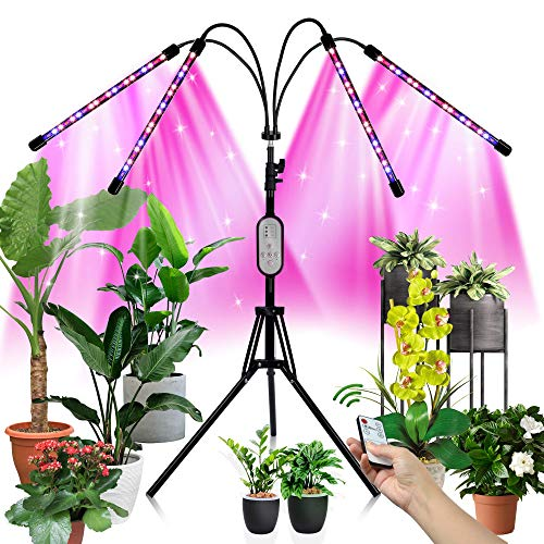 "LED Grow Light for Indoor Plant/Crop with 60"" Adjustable Stand, 4 Head 80W Floor Grow Lights 3 Colors Full Spectrum 80LED 3Modes 10Lighting Set Growing Lamp with 4/8/12H Auto On/Off Timer with Remote"