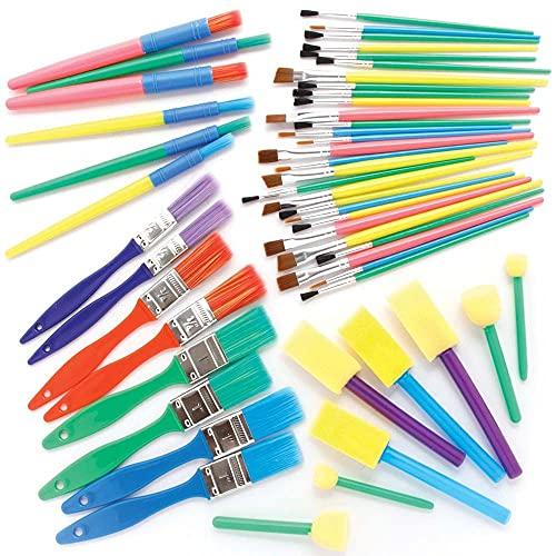 Baker Ross FE491 Set de Pinceles y Esponjas para pintar - Paquete de 50, juego de pinceles, suministros de arte para niños, juego de arte para niños