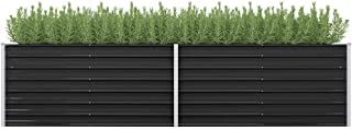 vidaXL Garden Raised Bed Outdoor Lawn Backyard Patio Balcony Flower Plant Vegetable Pot Raised Bed Anthracite 320x80x77cm ...