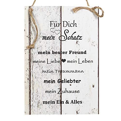 Wand Deko Holzschild mit Spruch im Shabby Chic Vintage Stil (20x29x0,5cm) Mein Schatz Mein Bester Freund - die Geschenkidee für ihren Freund zum Valentinstag