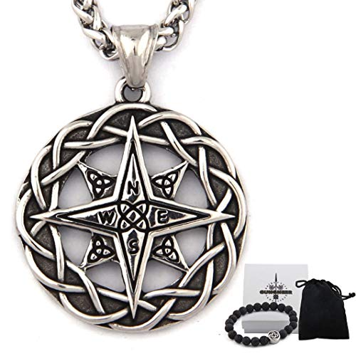 Gungneer Stainless Steel Celtic Knot Triquetra Irish Compass Necklace Trinity Strength Symbol Keel Chain Jewelry (20)