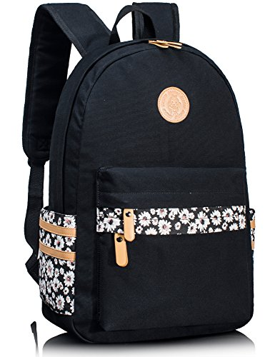 Leaper Mädchen Canvas Schule Rucksack mit Blumen Schulrucksack Laptoprucksack (Schwarz)