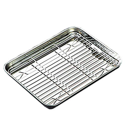 SHUANGSHI Baking Tray, Baking Sheet Tray with Removable Rack Set Stainless Steel Cooling Pan for Oven Dishwasher Safe 15.94×12.01×0.98in