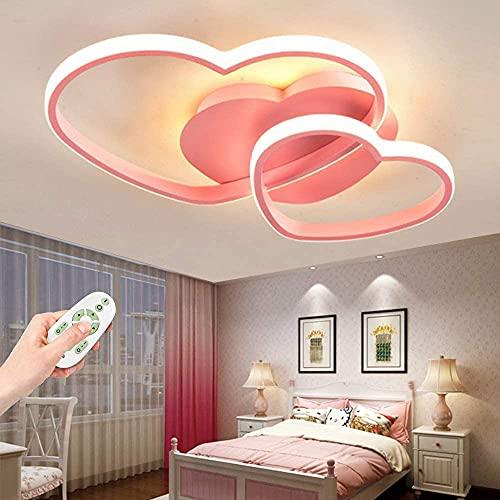 Lámpara De Techo LED Love Heart Design LuzDeTecho Decoración Pantalla Acrílico Lámparas Colgantes Regulables Con Control Remoto Habitación Infantil Dormitorio 50Cm [Clase Energética A ++],Rosado