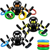 3 Pack Inflatable Spider Witch Hat Ring Toss Game Halloween Party Games for Kids Adult Outdoor Carnival Party Games Spider Toys for Halloween School Party Favors 15 Piece Set