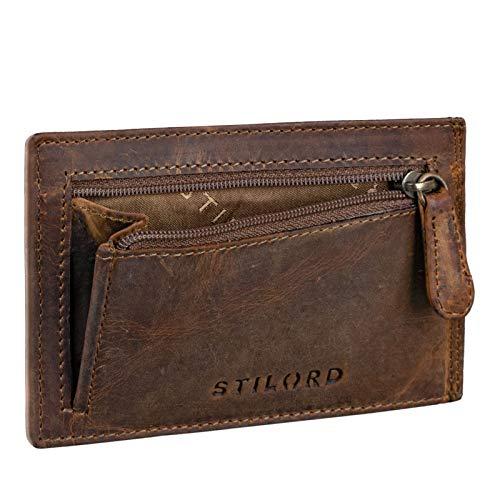 STILORD 'Trevor' Cartera Tarjetero Hombre Portamonedas NFC Bloqueo Monedero Clásico Cartera Pequeña Billetera Portatarjetas de Piel Genuino, Color:marrón - Medio