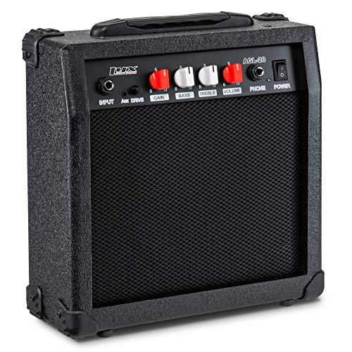 LyxPro Electric Guitar Amp 20 Watt Amplifier Built In Speaker Headphone Jack And Aux Input Includes Gain Bass Treble Volume And Grind