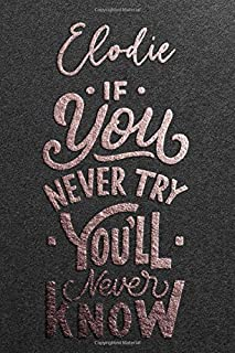 Elodie If You Never Try You Never Know: Motivational To Do Checklist Notebook / Journal Gifts for Daily Task Planner & Tim...