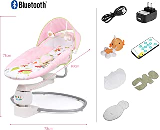 Baby Swing Bodyguard Chair Electric Smart Cradle Chair Intelligent Dynamic Sensing System 3-Speed Timing + 4 Swing Newborn Gift Pink
