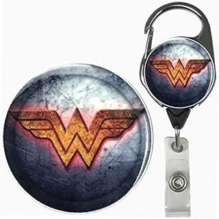 Superhero Real Charming Retractable Metal Carabiner ID Badge Holder Badge Reel (Wonder Shield MC)