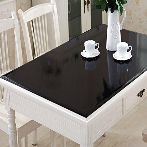 RUOYOU Anti-heiß Tischdecken,Wasserdicht Ölbeweis Tisch-Abdeckung,PVC Tabelle Tuch Weich Glas klar Kristall-Teller Tischsets Für Home Küche Schwarz-A 70x140cm(28x55inch)