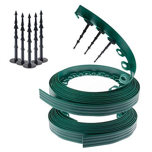 Chrispol System - bordatura per prato in plastica flessibile con chiodi di fissaggio stabili, lunghezza 10, 20, 50 m; altezza 4 cm; colore nero, verde, marrone, verde, 20 m