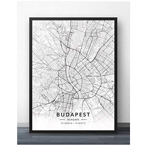 Qqwer Cartel De Pintura De Viaje Mundial De La Ciudad De Budapest Hungría Mapa Impresiones Lienzo Cuadro De Pared Para La Decoración De La Habitación Del Hogar -50X70Cmx1Pcs -Sin Marco