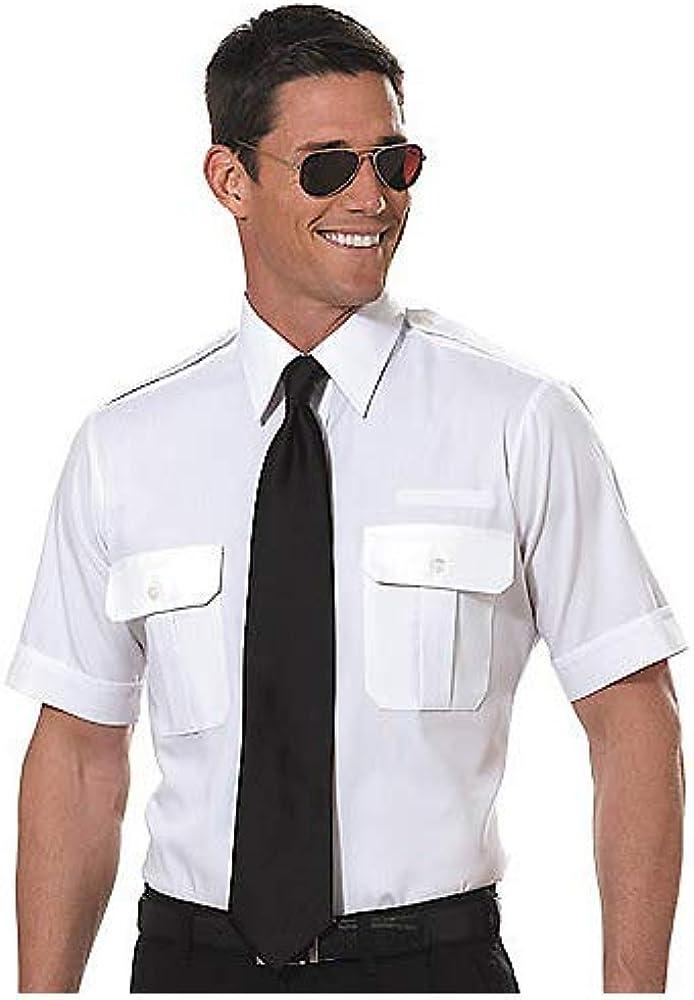 Van Heusen Men's Pilot Shirt - White- Short Sleeve