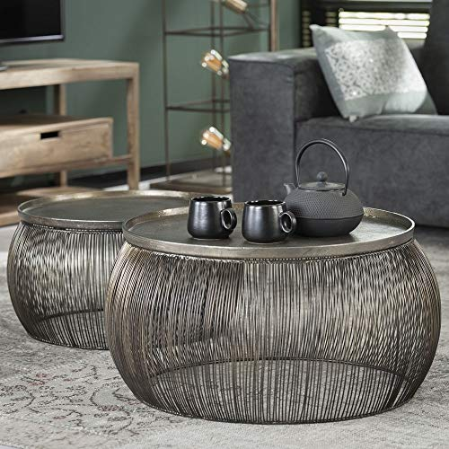 2er Set Couchtisch Tisch Tanhua IV Drahtgestell Bronze 55x55x25cm, 65x65x30cm Wohnzimmertisch Sofatisch Beistelltisch Kaffeetisch Ziertisch