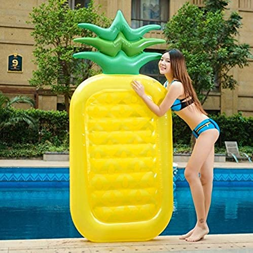 HuXWeiß180 cm Riesen Kaktus Aufblasbare Fahrt auf Schwimmring Pool Float Wasser Party Spielzeug Blowup Obst Floatie Luftmatratze Strandliege, 180 cm Ananas